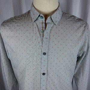 Ted Baker London Shirts - Ted Baker London Shirt Large/4 Grey/Red Designs